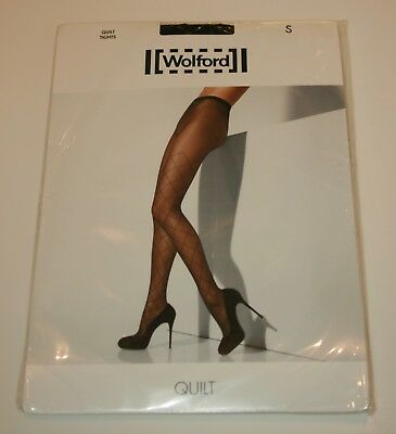Wolford Quilt 20 Denier Tights Pantyhose Stay Up effect Diamond Small Black