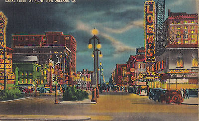 Canal Street at Night NEW ORLEANS Louisiana News Co. U.S.A. 1930-45 Postcard