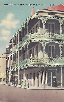 Royal Street Lacework in Iron NEW ORLEANS Louisiana U.S.A. 1930-45 Postcard
