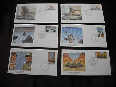 Marshall Islands FDC, WWII, 50th Anniversary, WW2, Sold Individually 1989 - 1995
