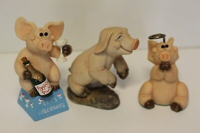 Piggin Ornaments  Let's Celebrate, Plastered, And Angel In Good Condition