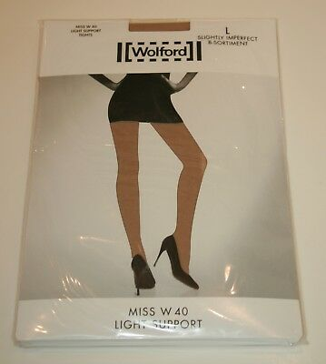 Wolford Miss W Light Support 40 Denier Tights Pantyhose Large Oyster Light Nude
