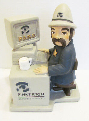 Pinkerton Security Services Chalkware Advertising Ad Figure Statue Computer 1991