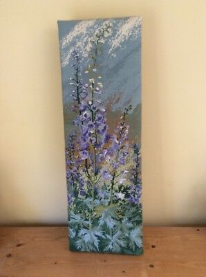 "Lovely Completed Tapestry Panel Of Delphiniums - Measures 13"" X 36"""