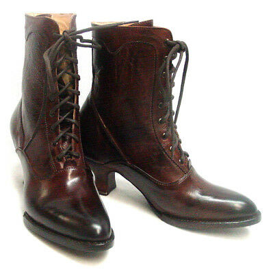 Oak Tree Farms Eleanor Old West Granny Vintage Style Brown Boot Leather sz 6-11