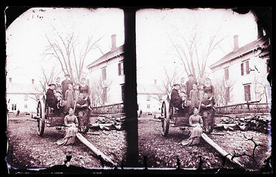 Antique Glass Negative, F.c Philpot, Limerick Me., Group Of People On Wagon