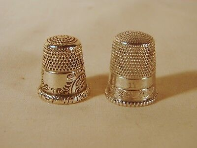 2 Old Sterling Sewing Thimbles, MKD & Simons, Size 7 & 11, Both Worn w/ Holes