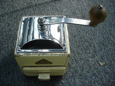 Vintage Dutch De Ve EVA Wood & Chrome COFFEE BEAN GRINDER.