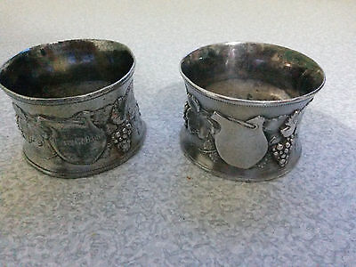 Pair Of Antique Silver Plated - Ornate Berry Design - Wmf- Napkin Rings