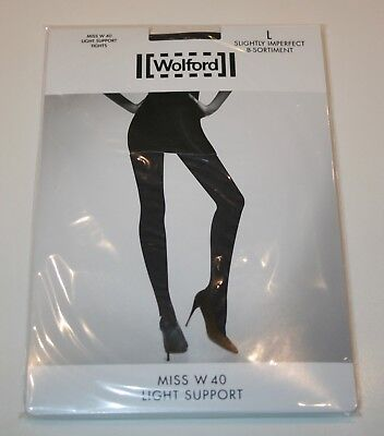 Wolford Miss W Light Support 40 Denier Tights Pantyhose Large Sinfonie Grey