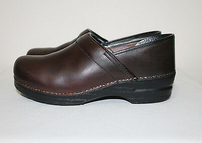 DANSKO Brown Leather Professional Stapled Clogs Women's Shoes Size 41/10.5-11