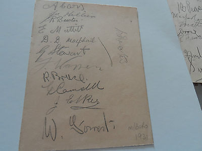 Vintage Football Autographs Middlesborough 1931? Including Legend George Camsell
