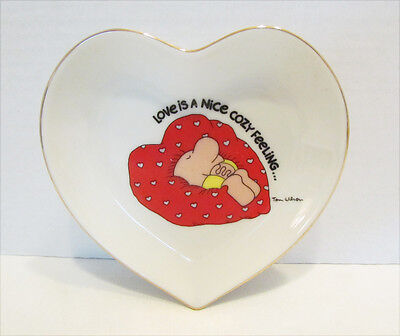 Ziggy 1980 Love Is A Nice Cozy Feeling Heart Shaped Ceramic Dish Valentines Day