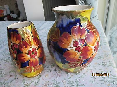 "2 x Hand Painted J Fryer ""Old Court Ware"" Mantle Vases"