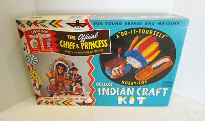 HOWDY DOODY 1950's CHIEF THUNDERBIRD & PRINCESS DELUXE INDIAN CRAFT KIT #1513