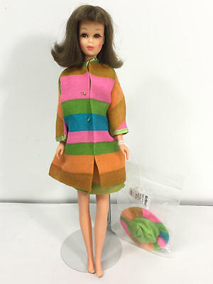 Vintage Barbie Brunette Bendable Leg Francie Doll In Merry Go Rounders Outfit