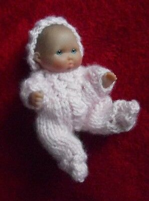 """Doll Clothes Pink Hand Knitted Sleeper set footed for Berenguer Baby 5"""" ooak 6"""""""