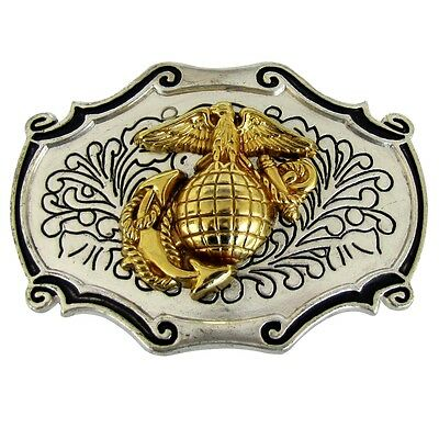 Metal US Marine Corps Belt Buckle w/ USMC Marines Emblem Gold Eagle Globe Anchor