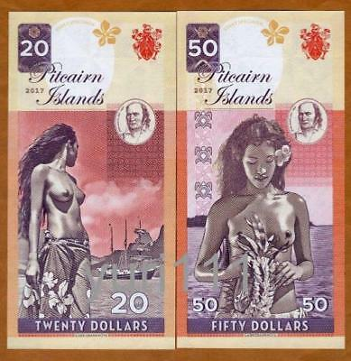 Pitcairn Islands, Set, $20 - $50, private issue, 2017, Matching S/Ns, Bounty