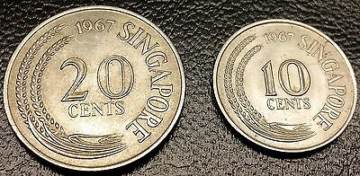 Lot of 2 Singapore Coins - 1967 20 Cents & 1967 10 Cents - High Grade