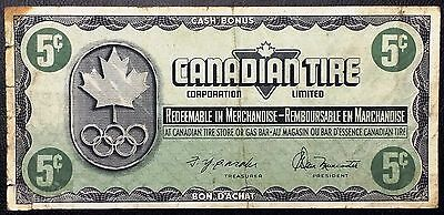 Vintage 1976 Canadian Tire 5 Cents Note - Great Condition - Free Combined S/H
