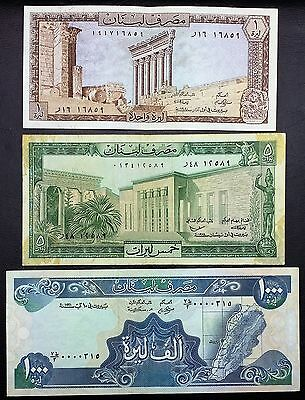 LEBANON: Lot of 3 Notes, 1, 5, 1000 Liras, P-61, 62, 69 ⭐️ FREE COMBINED S/H ⭐️