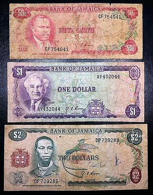 JAMAICA: 1960 50 cents $1 $2 Banknotes, P-53 P-59 P-60 - FREE COMBINED S/H