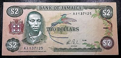 JAMAICA: 1985 $2 Banknote P-69a Sign. 7 **XF CONDITION** FREE COMBINED S/H