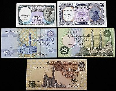 EGYPT: Lot of 5 Notes, 1 5 10 25 50 Piastres, P-50 57 58 189b, Free Combined S/H