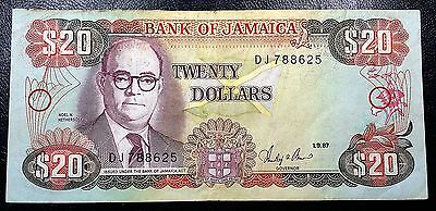 JAMAICA: 1987 $20 Banknote P-72b Signature 8 *NICE CONDITION* FREE COMBINED S/H