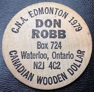 CNA Edmonton Canadian Wooden Dollar (Nickel): Don Robb - FREE COMBINED S/H