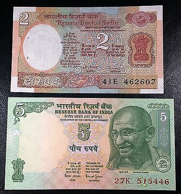 INDIA: 1976 2 Rupees P-79, 2002 5 Rupees Note P-88A, *UNC* ◢ FREE COMBINED S/H ◣