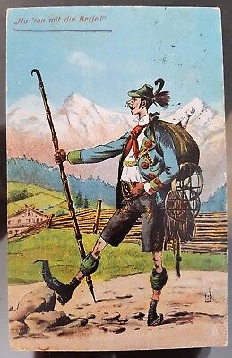 Germany 1923 Leipzig Comic Mountaineering Colour Postcard Cover