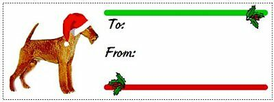 Irish Terrier Christmas gift tags WATERPROOF 120 pieces
