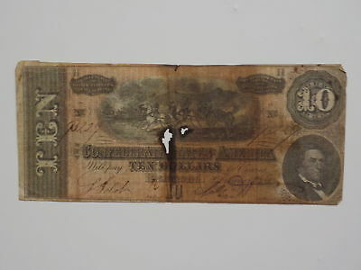 Civil War Confederate 1864 10 Dollar Bill Richmond Virginia Paper Money CSA Note