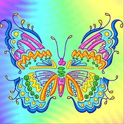 Beautiful Coloured Butterflies 10 Machine Embroidery Designs Cd 2 Sizes