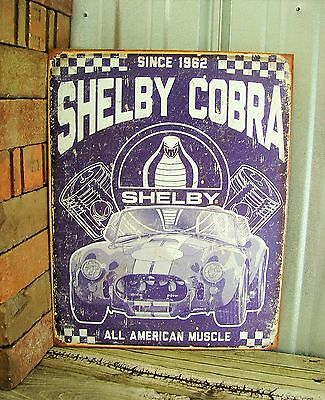 Shelby Cobra Since 1962 American Muscle Car GT Blue Metal Tin Sign Garage