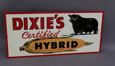 DIXIES CERTIFIED HYBRID CORN SIGN With Bull    Farm Feed Seed  modern retro