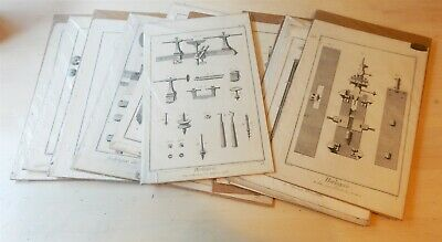 Lot of 13 Antique Mechanical Drawing Engravings from 1765 Diderot Encyclopedia