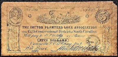 1862 Cotton Planters Loan Association $5 Reproduction Bill - Free Combined S/H