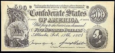 1864 Confederate States of America $500 Reproduction Note - Free Combined S/H