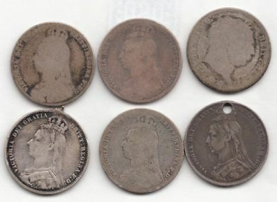 Lot of 6 British Silver 1 Shillings (1817,1889,1890,(2)1891,1892)..99 cents..NR!