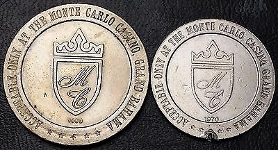 1968 Monte Carlo Casino Bahama $1 & 1970 50 Cent Gaming Chips -Free Combined S/h