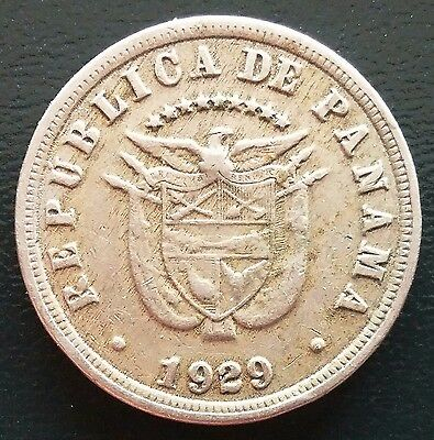 1929 Panama Cinco 5 Centesimos De Balboa Coin **great Condition** D35