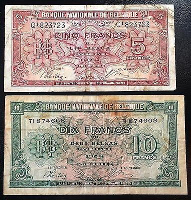 BELGIUM: Set of 2, 1943 5 & 10 Francs Banknotes, P-121 122 ◢ FREE COMBINED S/H ◣