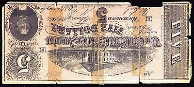 1864 Confederate States of America $5 Five Dollar Reproduction Note