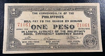 PHILIPPINES: 1942-1943 Emergency 1 One Peso *AU* P-S138 ◢ FREE COMBINED S/H ◣