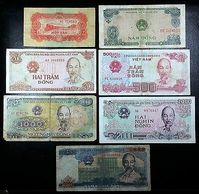 VIETNAM: Collection of 7 Notes, 1 to 5000 Dong, P-68a 81 100 101 103 104 106