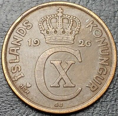 1926 ICELAND 5 AURAR COIN *GREAT CONDITION*- Free Combined S/H