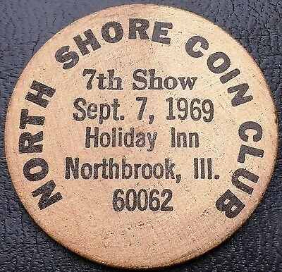 1969 North Shore Coin Club Illinois Wooden Nickel - Blank Reverse